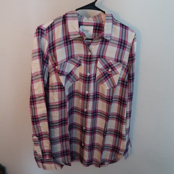 Jessica Simpson Tops - Jessica Simpson Size Medium pink plaid shirt